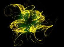 Abstracte fractal met chaotische gele krommen op zwarte Stock Foto