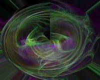 Abstracte fractal, ontwerp van het de fantasiemalplaatje van de patroon het decoratieve magische lichte creativiteit, werveling stock illustratie