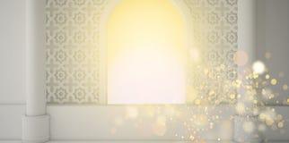 Abstracte fruitachtergrond, pineappleEastern ruimte, open venster, zonlicht en magische stralen het 3d teruggeven vector illustratie