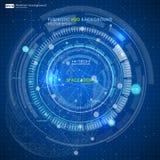 Abstracte Futuristische blauwe virtuele grafische aanrakingsinterface HUD Royalty-vrije Stock Afbeelding