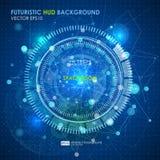 Abstracte Futuristische blauwe virtuele grafische aanrakingsinterface HUD Stock Afbeeldingen