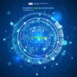 Abstracte Futuristische blauwe virtuele grafische aanrakingsinterface HUD Verbindingsstructuur Vectorwetenschapsachtergrond Abstr Stock Foto