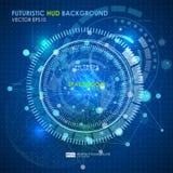 Abstracte Futuristische blauwe virtuele grafische aanrakingsinterface HUD Verbindingsstructuur Vectorwetenschapsachtergrond Abstr Royalty-vrije Stock Foto