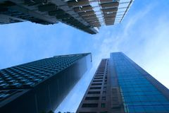 Abstracte futuristische cityscape mening met moderne wolkenkrabbers Peking, China stock afbeelding