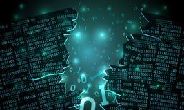 Abstracte futuristische cyberspace met een binnendrongen in een beveiligd computersysteem serie van binaire gegevens, gebroken da royalty-vrije illustratie