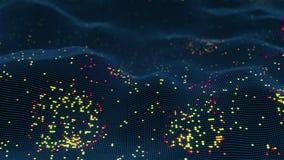 Abstracte futuristische het gloeien virtuele neurale netwerk naadloze 3D animatie royalty-vrije illustratie