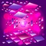 Abstracte futuristische neonachtergrond met vliegende voorwerpen in ruimte Gloeiende confettien op ultraviolette achtergrond stock illustratie