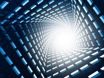 Abstracte Futuristische Tunnel Blauwe Donkere Achtergrond Stock Foto's