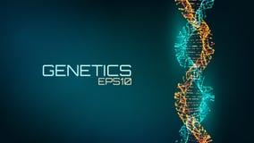 Abstracte fututristic DNA-schroefstructuur De wetenschapsachtergrond van de geneticabiologie Toekomstige medische technologie royalty-vrije illustratie