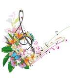 Abstracte g-sleutel die met bladeren en bloemen wordt verfraaid stock illustratie