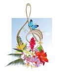 Abstracte g-sleutel met een vlinder stock illustratie