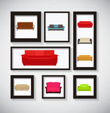 Abstracte Galerijachtergrond met Sofa Icon Set Vector Illustrati Stock Foto