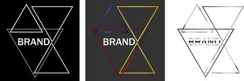 Abstracte geïsoleerde overzichten van driehoeken en op een donker achtergrondontwerp bedrijfsembleem Royalty-vrije Stock Foto