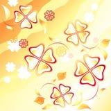 Abstracte gele achtergrond. Vliegende bloemen Royalty-vrije Stock Foto's