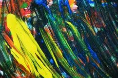 Abstracte gele donkerblauwe verfachtergrond, zachte mengelingskleuren, het schilderen vlekkenachtergrond, waterverf kleurrijke ab Stock Fotografie