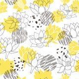 In abstracte gele en grijze waterlilies of naadloze vector het patroonachtergrond van de lotusbloembloem royalty-vrije stock afbeeldingen