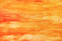 Abstracte gele rode waterverfachtergrond Stock Afbeeldingen