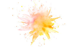 Abstracte gele roze waterverfplons Royalty-vrije Stock Afbeeldingen