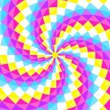 Abstracte geometic achtergrond, feestelijk patroon met verschillende vormen in spiraal Heldere en levendige kleuren van de jaren  stock illustratie