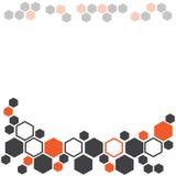 Abstracte geometrische achtergrond met donkergrijze en oranje zeshoeken Vector illustratie royalty-vrije illustratie