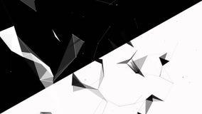 Abstracte geometrische achtergrond met het bewegen van lijnen, punten en driehoeken De abstracte technologie van de vlechtfantasi stock videobeelden
