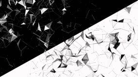 Abstracte geometrische achtergrond met het bewegen van lijnen, punten en driehoeken De abstracte technologie van de vlechtfantasi stock video