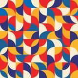 Abstracte geometrische achtergrond - naadloze vectorpatroonillustratie in blauwe, rode en gele kleuren De structuur van het mozaï Royalty-vrije Stock Afbeelding