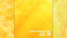 Abstracte geometrische achtergrond van driehoeken in gele kleuren stock afbeeldingen