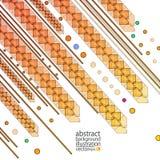 Abstracte geometrische achtergrond van stroken van cirkelslijnen van cijfers en ovalen rood-geelvector Stock Afbeelding