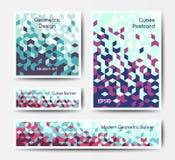 Abstracte geometrische bannermalplaatjes Stock Fotografie