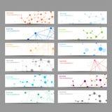 Abstracte geometrische bannersmolecule en mededeling Royalty-vrije Illustratie
