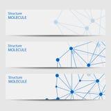 Abstracte geometrische bannersmolecule en mededeling Stock Illustratie