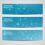Abstracte geometrische bannersmolecule en mededeling Wetenschap en technologieontwerp, structuurdna, medische chemie, Royalty-vrije Illustratie
