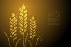 Abstracte Geometrische Bokeh-van het het pixelpatroon van de cirkelpunt de Tarwevorm, gouden de kleurenillustratie van het Bakker royalty-vrije illustratie