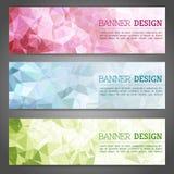Abstracte geometrische driehoekige geplaatste banners Royalty-vrije Stock Afbeelding