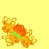 Abstracte geometrische grens van bladeren en bloemen op een gele achtergrond Stock Afbeelding