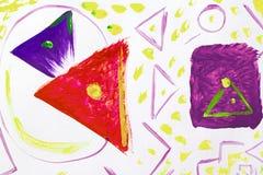 Abstracte geometrische het schilderen gemengde techniekachtergrond stock illustratie