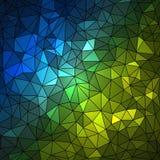 Abstracte geometrische multicolored achtergrond die uit driehoekige die elementen bestaan op zwarte achtergrond worden geschikt stock illustratie