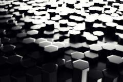 Abstracte geometrische oppervlakte Hexagonale zwarte achtergrond het 3d teruggeven Stock Foto's