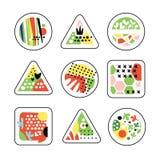 Abstracte geometrische texturen in een driehoek, een vierkant en een cirkel, in kleuren en vormen Stock Afbeeldingen