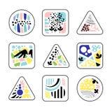 Abstracte geometrische texturen in een driehoek, een vierkant en een cirkel, in kleuren en vormen Royalty-vrije Stock Fotografie
