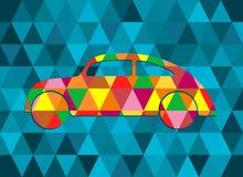 Abstracte geometrische vectorachtergrond met kleurenauto, driehoekspatroon Royalty-vrije Stock Foto