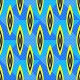 Abstracte geometrische voorwerpen op blauwe achtergrond naadloze patroon vectorillustratie Stock Afbeeldingen