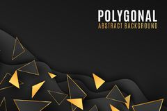 Abstracte geometrische vormenachtergrond Modieuze dekking voor uw ontwerp Lage polystijl zwarte en gouden Driehoeken Vloeibaar on stock illustratie