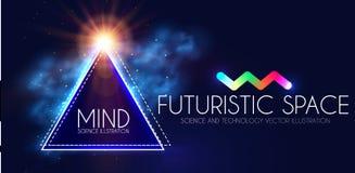 Abstracte Geomrtic-Banner met Neonlichten Het in Malplaatje van de Partijaffiche Futuristische ruimte Magisch en Geheimzinnigheid stock illustratie