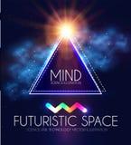 Abstracte Geomrtic-Banner met Neonlichten Het in Malplaatje van de Partijaffiche Futuristische ruimte Magisch en Geheimzinnigheid vector illustratie