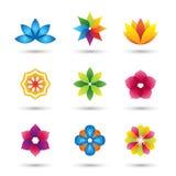 Abstracte geplaatst bloemembleem en pictogrammen Royalty-vrije Stock Afbeeldingen