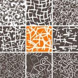 Abstracte geplaatste krabbel naadloze patronen Stock Afbeelding
