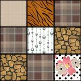 Abstracte geruite het patroonachtergrond van het plaid textiellapwerk Royalty-vrije Stock Foto