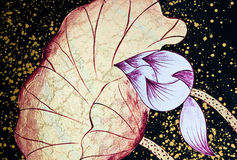 Abstracte geschilderde lotusbloem Stock Foto